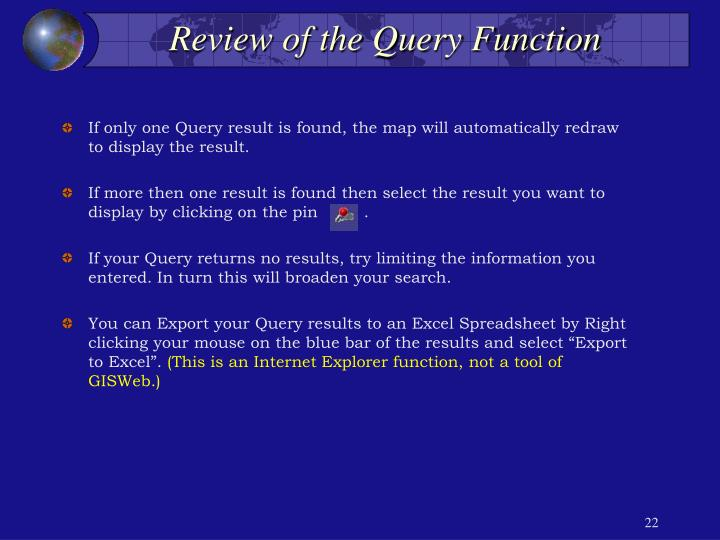 Review of the Query Function