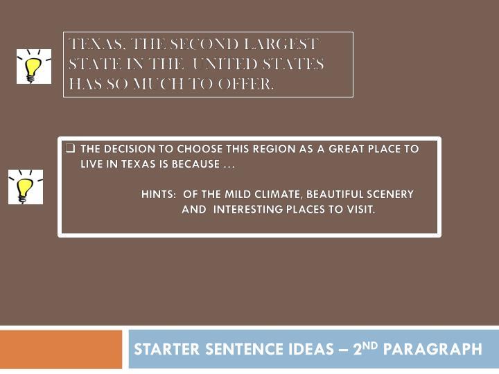 STARTER SENTENCE IDEAS – 2