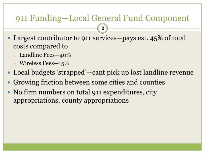 911 Funding—Local General Fund Component