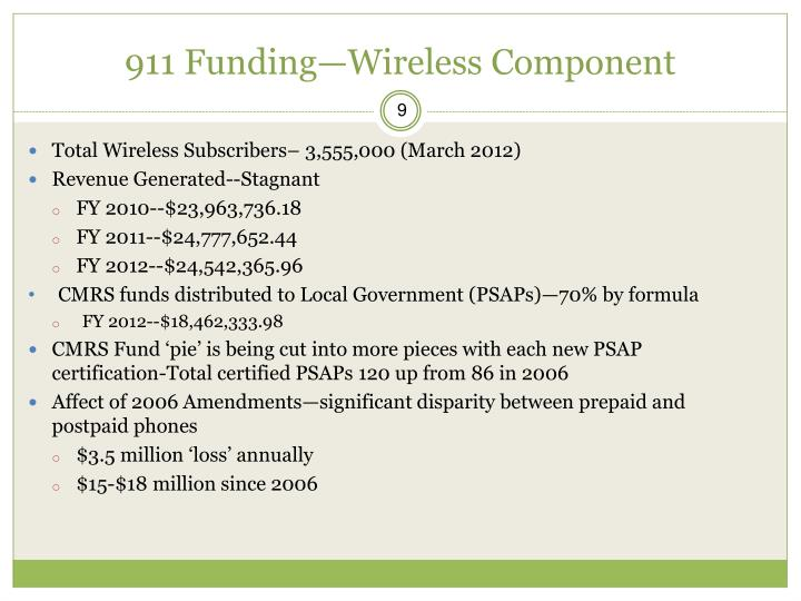911 Funding—Wireless Component