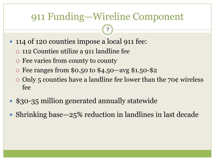 911 Funding—Wireline Component