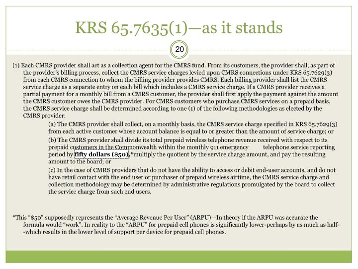 KRS 65.7635(1)—as it stands