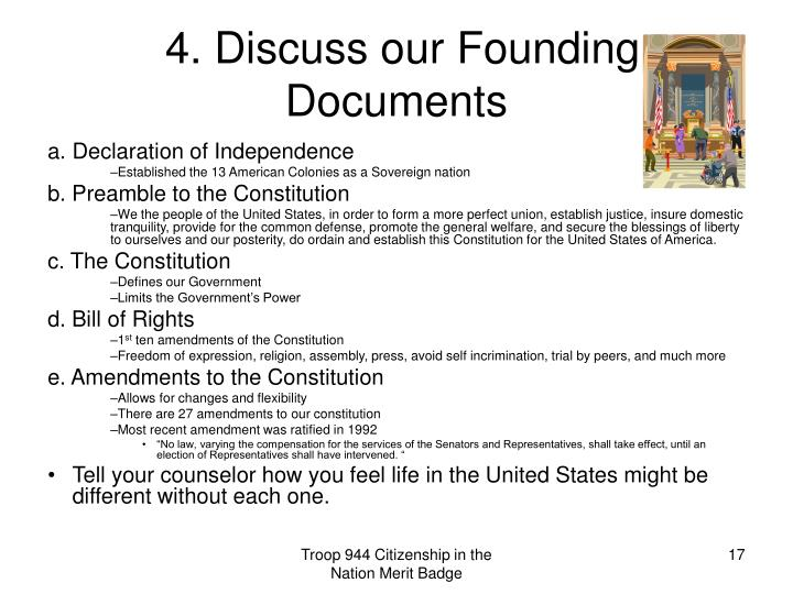 ppt citizenship in the nation merit badge powerpoint With 4 founding documents