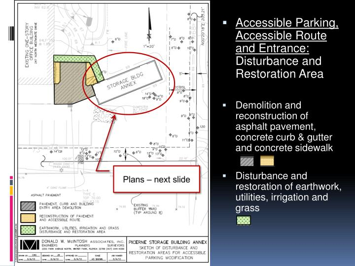 Accessible Parking, Accessible Route and Entrance: