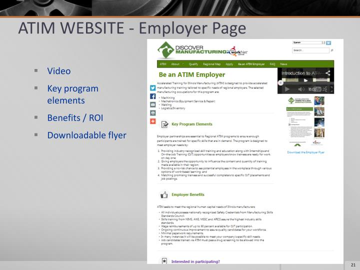 ATIM WEBSITE - Employer Page