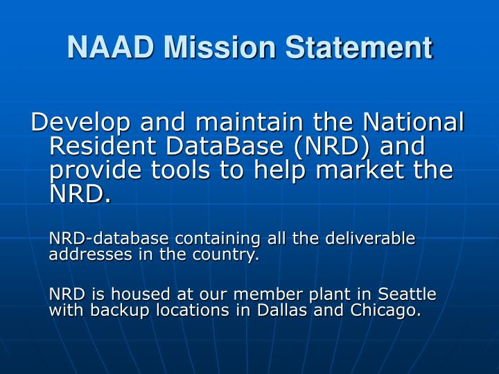 NAAD Mission Statement