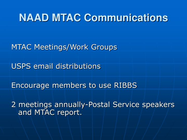 NAAD MTAC Communications