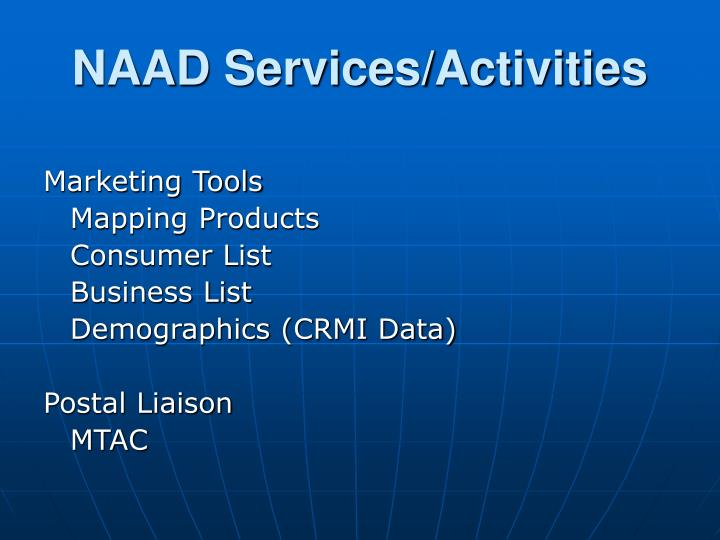 NAAD Services/Activities