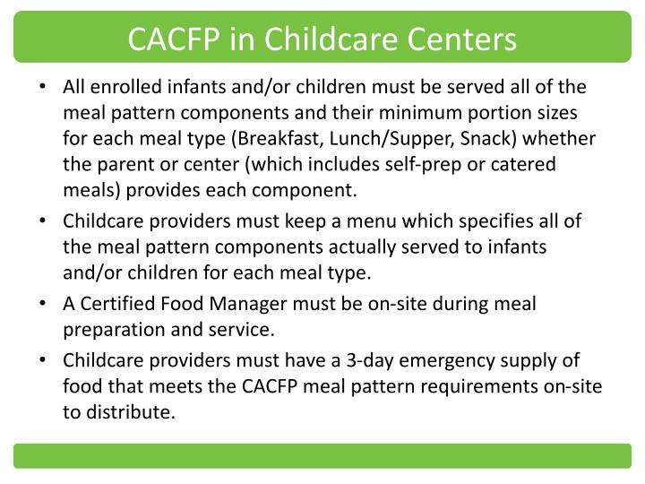 CACFP in Childcare Centers