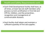 health and safety requirements cont
