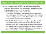 health and sanitation requirements cont3
