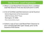 step seven lead inspection