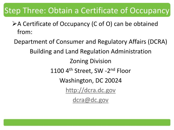 Step Three: Obtain a Certificate of Occupancy