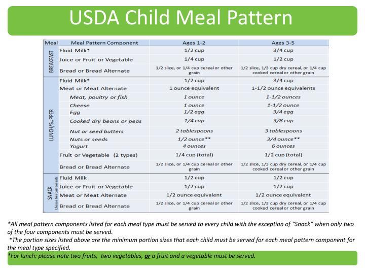 USDA Child Meal Pattern