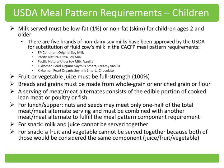 USDA Meal Pattern Requirements – Children