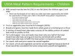 usda meal pattern requirements children