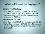 what will it cost the taxpayers