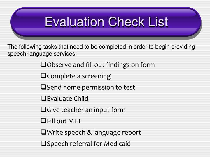 Evaluation Check List