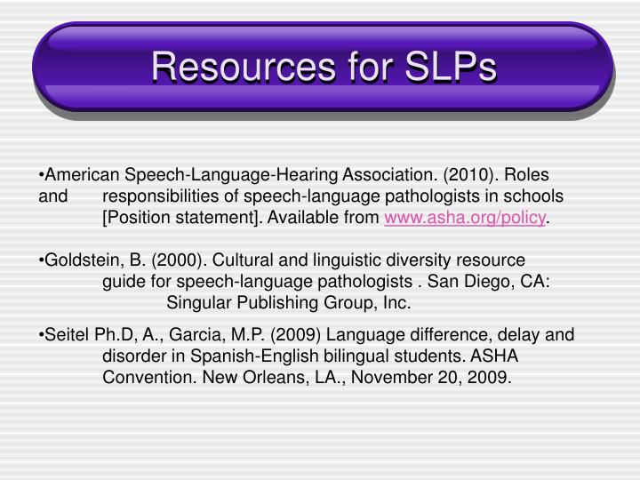 Resources for SLPs