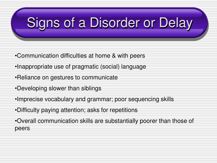 Signs of a Disorder or Delay
