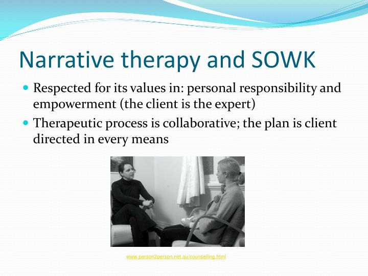 therapeutic techniques and components of narrative therapy Techniques and components of narrative therapy and give examples of how to operationalize this approach narrative therapy is an emerging psychological technique that has gained considerable popularity since its inception in the 1970s and 1980s.