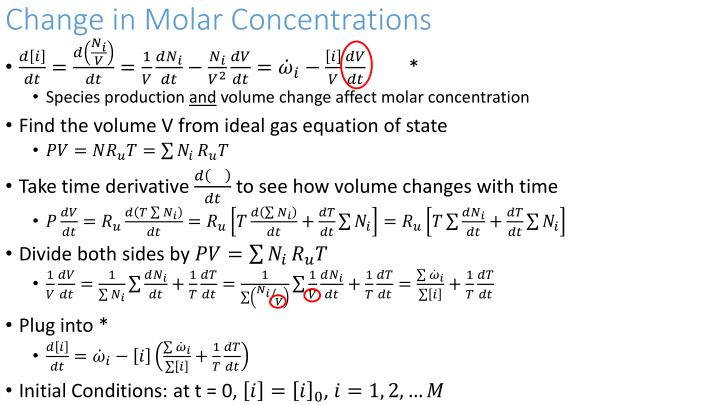 Change in Molar Concentrations