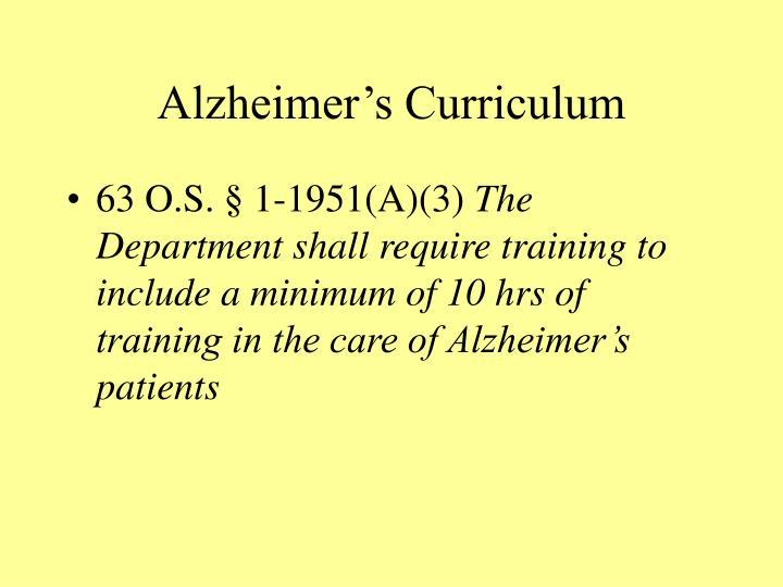 Alzheimer's Curriculum