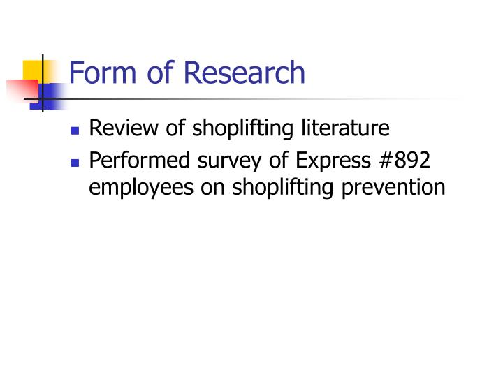 Form of Research
