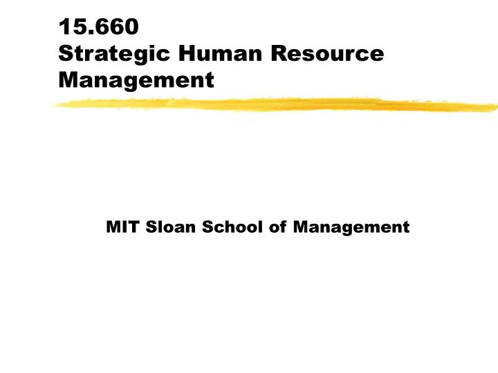 15 660 strategic human resource management