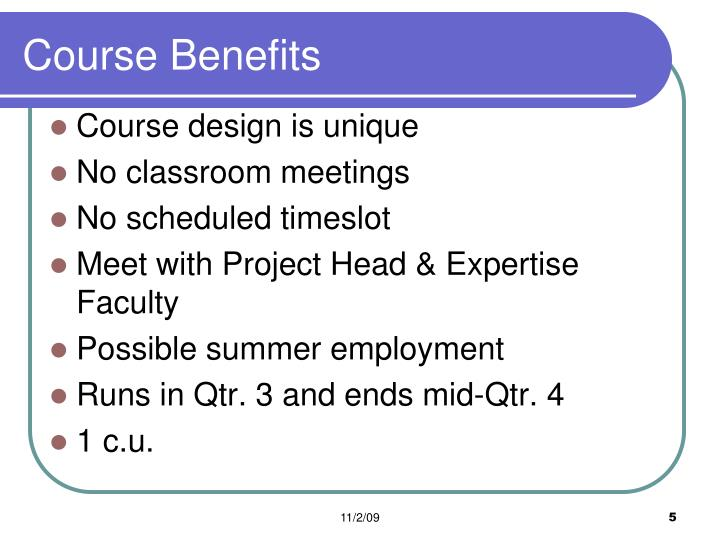 Course Benefits