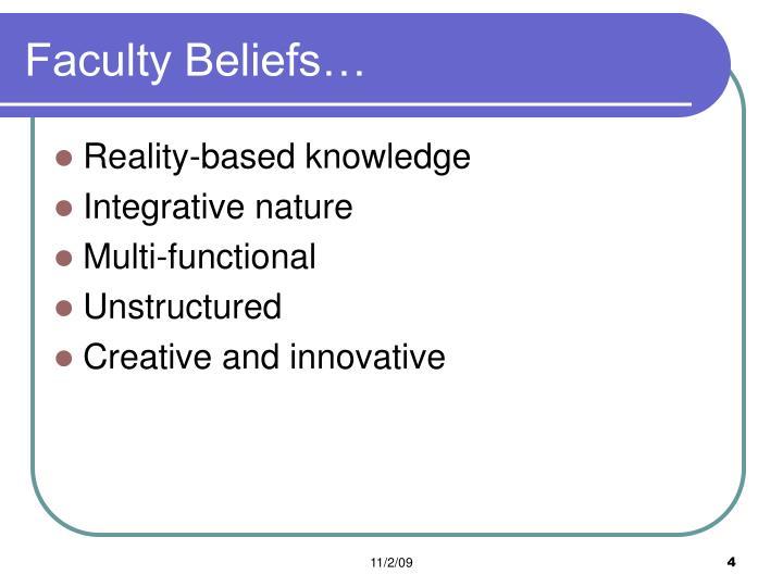 Faculty Beliefs…