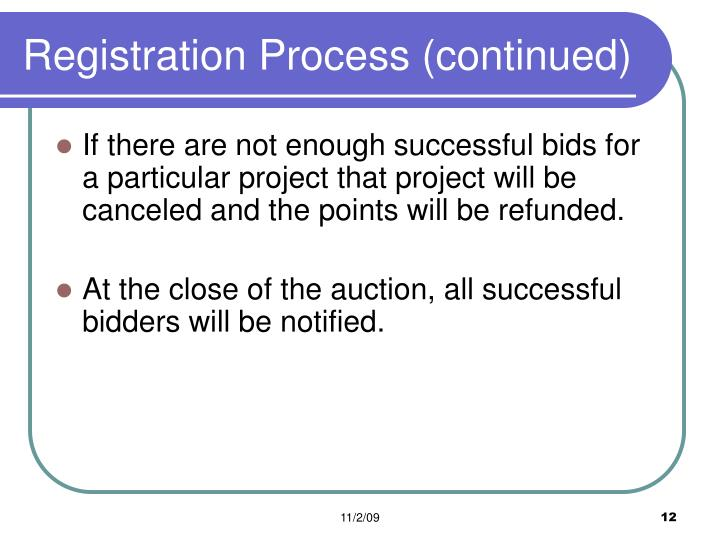Registration Process (continued)