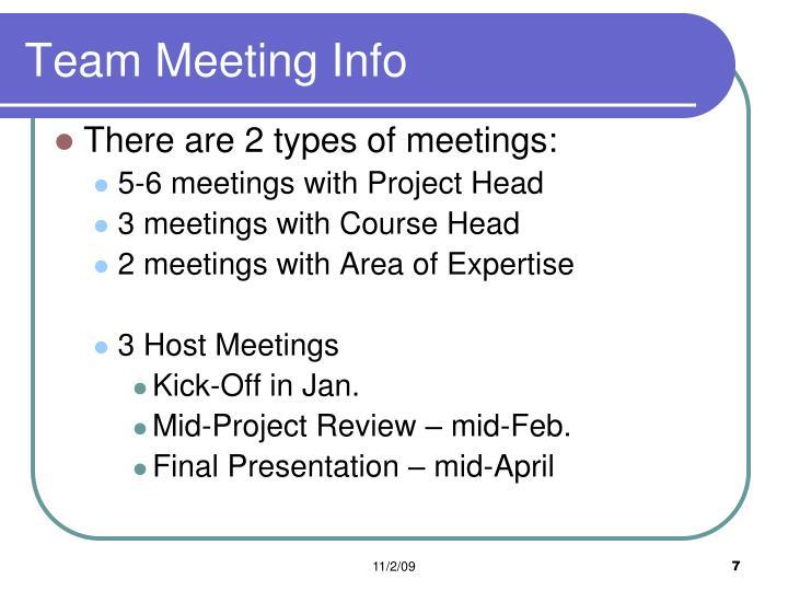 Team Meeting Info