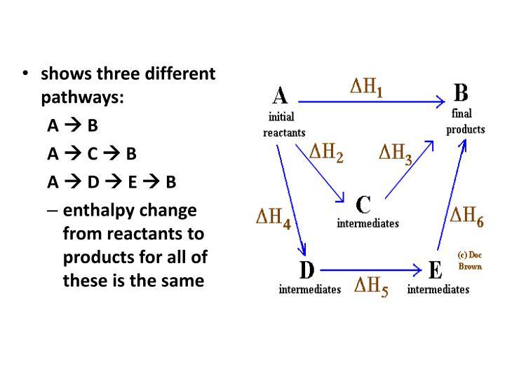shows three different pathways: