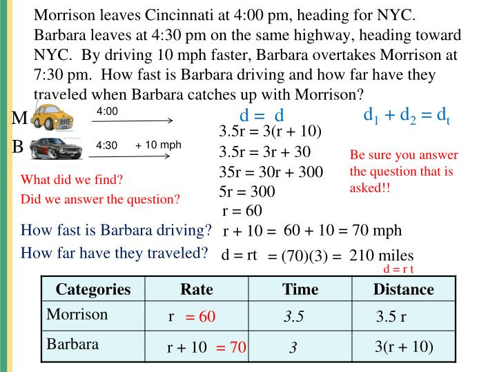 Morrison leaves Cincinnati at 4:00 pm, heading for NYC.  Barbara leaves at 4:30 pm on the same highway, heading toward NYC.  By driving 10 mph faster, Barbara overtakes Morrison at 7:30 pm.  How fast is Barbara driving and how far have they traveled when Barbara catches up with Morrison?