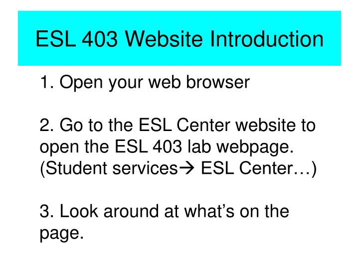 ESL 403 Website Introduction