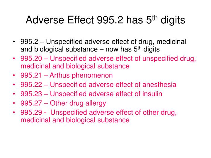 Adverse Effect 995.2 has 5