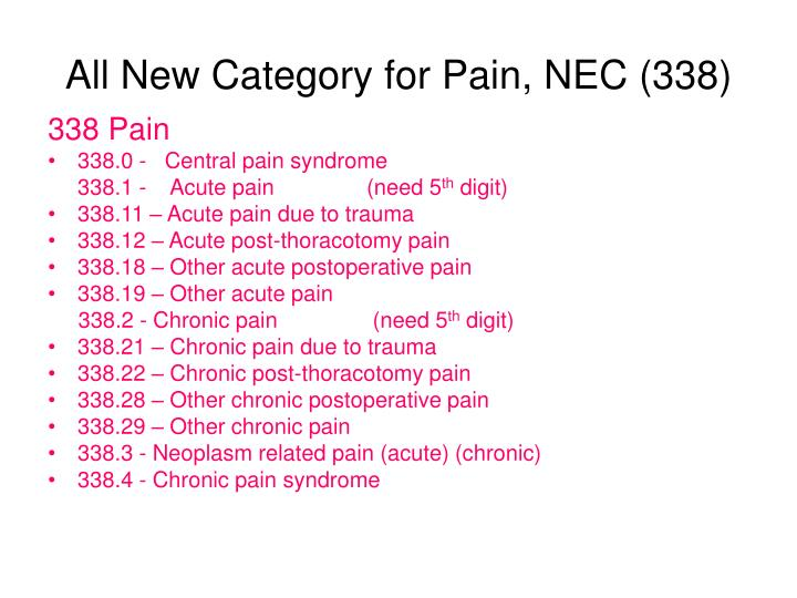All New Category for Pain, NEC (338)