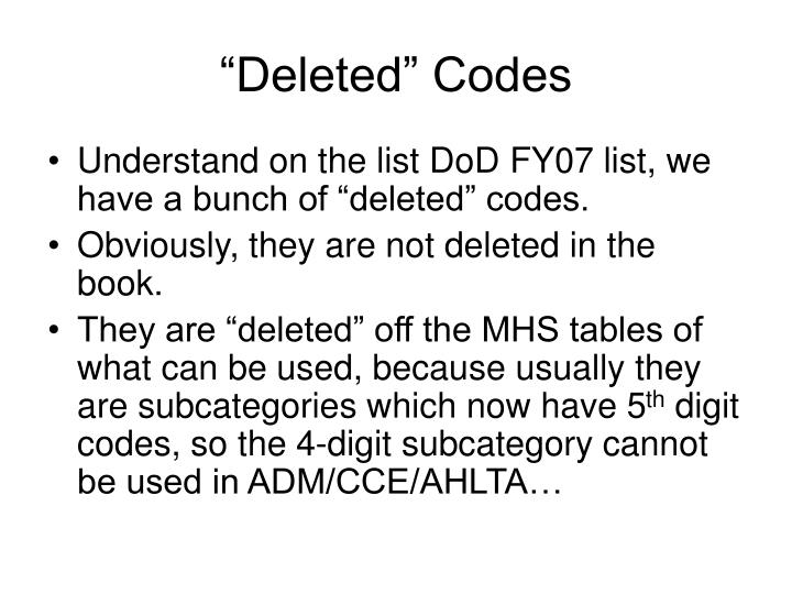 """Deleted"" Codes"