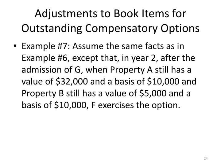 Adjustments to Book Items for Outstanding Compensatory Options