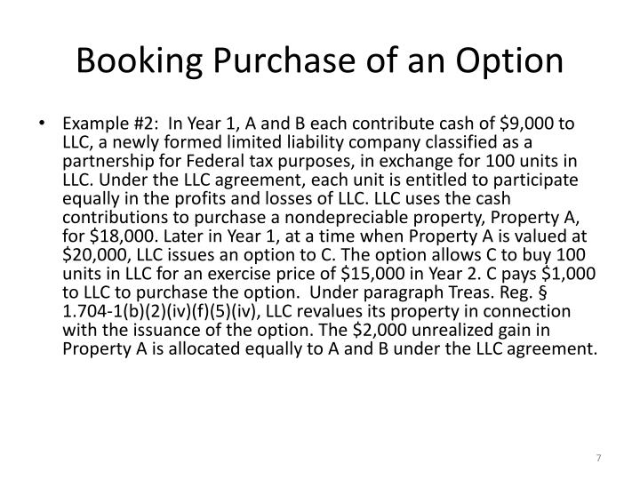 Booking Purchase of an Option