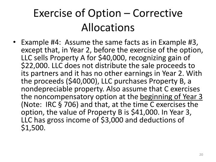 Exercise of Option – Corrective Allocations