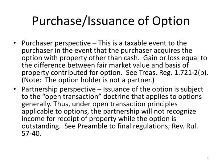 Purchase/Issuance of Option