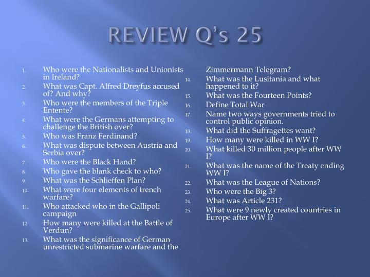 REVIEW Q's 25