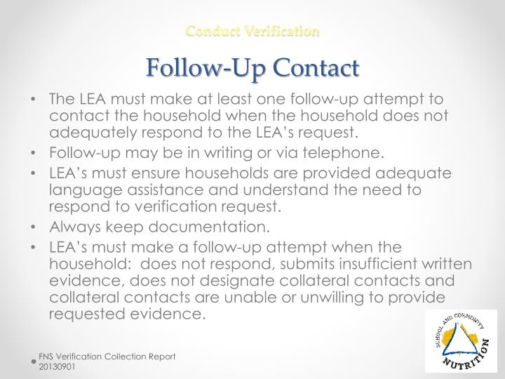 Conduct Verification