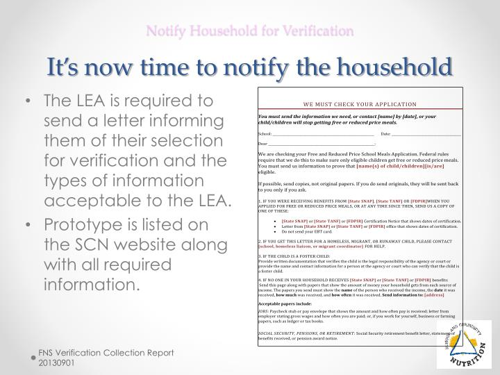 Notify Household for Verification