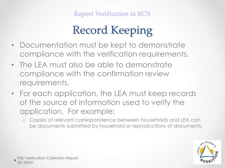 Report Verification to SCN