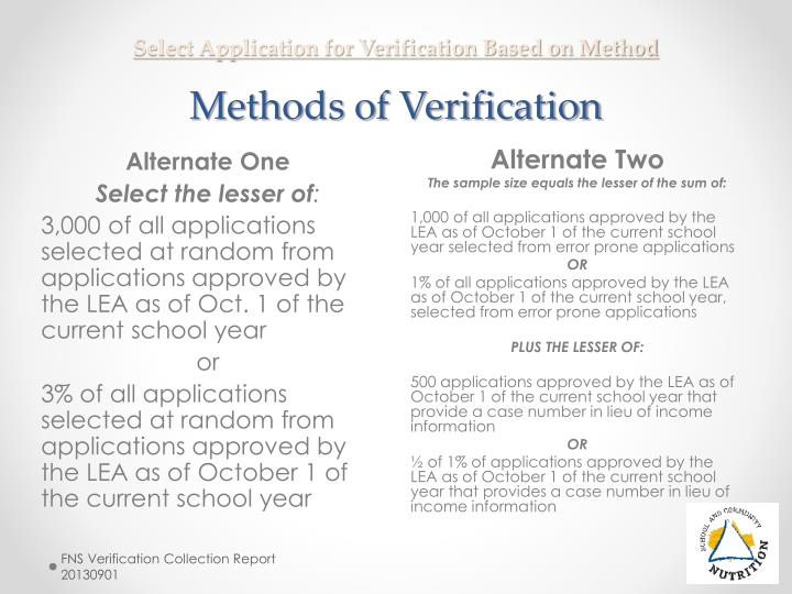 Select Application for Verification Based on Method
