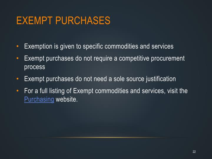 Exempt Purchases