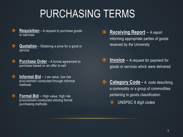 Purchasing Terms